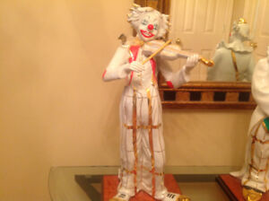 Collection 3 Clowns Musiciens Or 18 carats Porcelaine Crystal