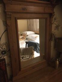Bevelled pine mirror