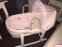 Moses basket girls butterfly 'kindervalley' fantastic condition only used for 14 weeks!
