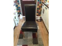 Four Leather Dining Room Chairs Dark Brown