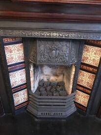 Original Victorian cast iron fire place