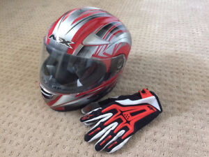 Motorcycle helmut and gloves
