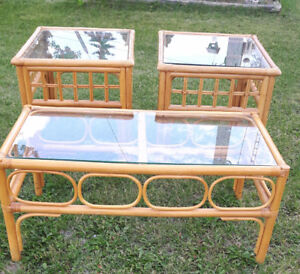 Bamboo style  glass coffee table and end tables