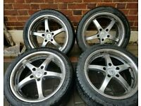 BMW 17 INCH DEEP DISH RS ALLOY WHEELS AND MINT TYRES 5X120 Z3 Z4 E46 E90 E92 E87 ETC