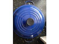 Le Creuset cast iron round casserole pan and shallow casserole pan