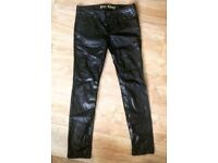 PVC Leather Look Skinny Jeans - Size 12 long