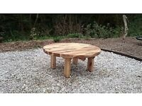 Oak sleeper Table garden furniture sets railway round oak table summer seat Loughview Joinery