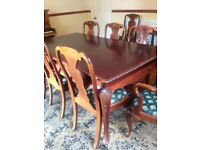 Large Mahogany Dining Table with 8 Chairs
