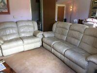 Cream leather five piece lounge suite