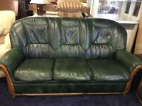 Green Leather 3 + 2 Seater With Footstool