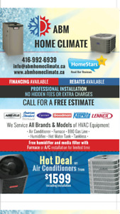 Air conditioner (A/C) from $1599, Furnace installation