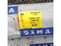 10 x 4 M lengths of Osama 68mm black guttering down pipe and some drainage pipes
