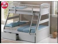 Cosmos white triple sleeper bunk bed frame