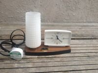 Retro Vintage Metamec Alarm / Bedside Clock With Lamp On Plinth