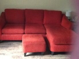 Corner settee by sofa sofa complete with footstool.