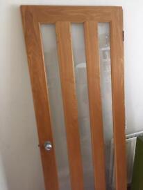 B&Q Three Panel Glass and Oak Veneer Door