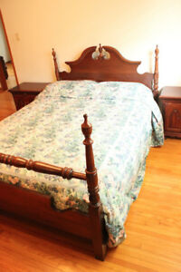 Queen Size Post Bed Solid Wood Dark Stain Colonial OBO