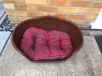 BROWN PLASTIC WITH TARTAN CUSHION (MEDIUM, HEAVY DUTY PET BED)