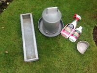Chicken feeder , drinker, grit holder and mite kill concentrate.