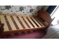 Small Single Pine Bed & Mattress