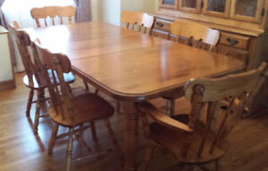 """Vintage """"Quebecois farmhouse"""" styled dining table and six chairs"""