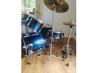 Teal Tama Superstar Drum Kit, Meinl Cymbals, Stool and Cymbal Bag