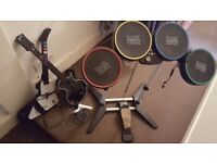 Xbox 360 band set - Rockband drums, Guitar Hero guitars, and microphone