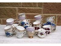 Vintage China, 25 Cups, 25 Saucers, 25 Side Plates. Pretty Wedding China, Tea Party - Birthday