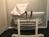 White baby Moses basket with stand
