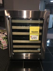 """KitchenAid 24"""" Wine Cellar with Glass Door and Wood-Front Racks"""