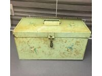 Vintage Shabby Chic Metal Floral Toolbox/ Sewing Box