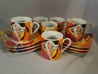 Set of 6 - Arcobaleno Espresso cups/saucers