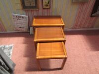 "**REDUCED** NEST OF 3 SOLID WOOD SIDE/COFFEE TABLES. THE LARGEST IS 22"" X 14""X 18"" TALL."