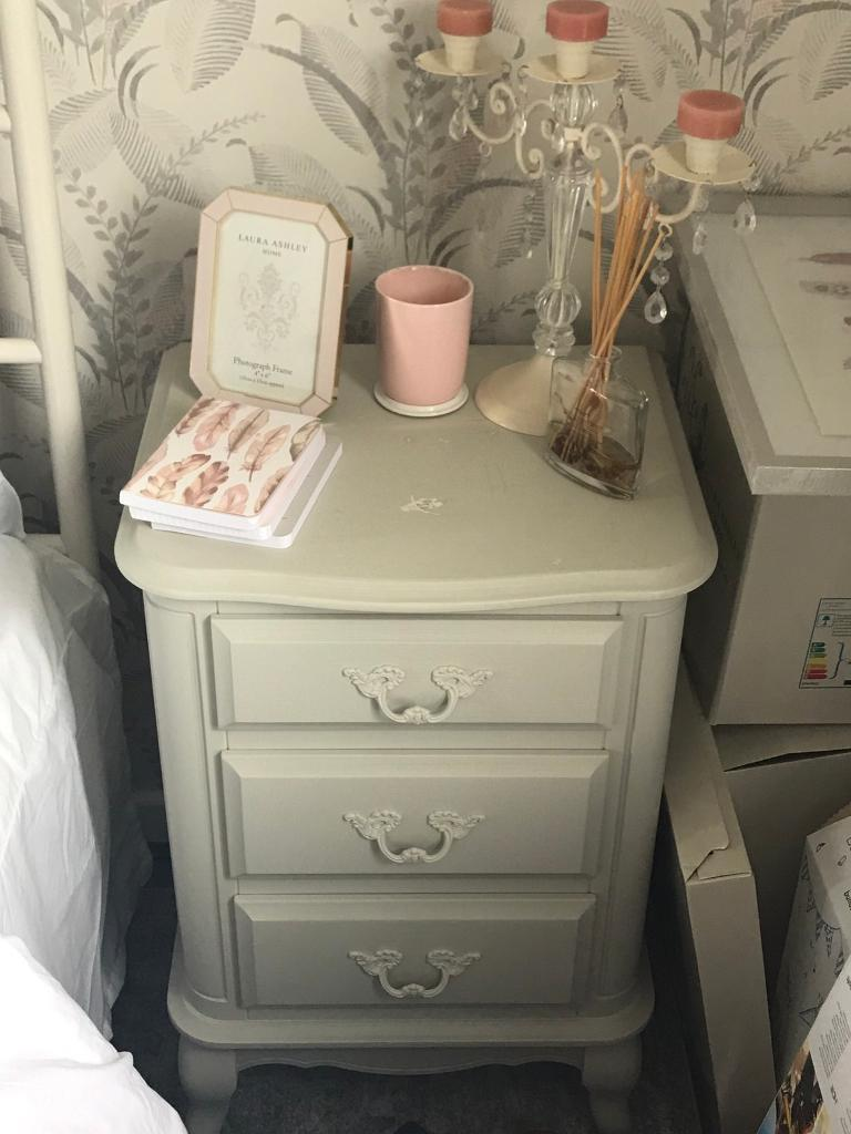 Provencale Dove Grey 3 Drawer Bedside Table From Laura Ashley