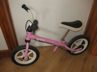 PINK PUSH ALONG BIKE (no peddals) stands 24 inches to the handle bars / 18 inches to seat - FABULOUS