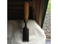 "A Vintage Wooden Handle Chisel - 9 3/4"" long x 1 1/5"" wide"