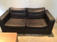 Chocolate leather double sofa bed
