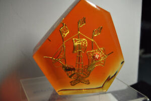 VINTAGE  SHIP LUCITE PAPERWEIGHT
