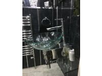 Glass and chrome sink with glass shelf, chrome tap and fittings