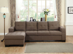 L shape sectional in fabric and leather options.