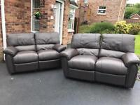 2 & 2 brown luxury full leather reclining sofas suite