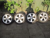 "AUDI TT MK2 8J 2006-2014 GENUINE 17"" ALLOY WHEELS With Exc Pirelli P7 & Bridgestone Tyres"