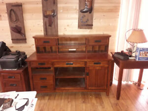 Nice wooden computer desk with printer table and chair