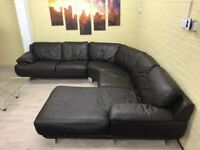 Silver Feet Large Brown Leather Corner Sofa
