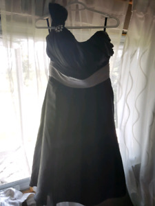 Black and silver mid length formal dress