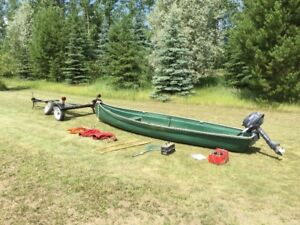 Freighter Canoe, Outboard Motor, Trailer and Gear