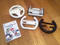 4 X Wii Steering Wheels & MarioKart Wii - Brilliant Condition