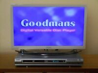DVD Player. Goodman's. Still sealed remote, instructions, scart and audio leads.