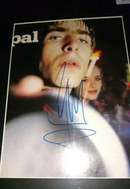 Signed and mounted picture of Liam Gallagher autograph Oasis.