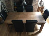 Farmhouse wood dinning table and SIX chairs